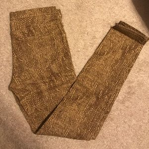 Brown snake print jeggings